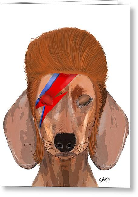 Canine Framed Prints Greeting Cards - Ziggy Aladdin Sane Dog Greeting Card by Kelly McLaughlan