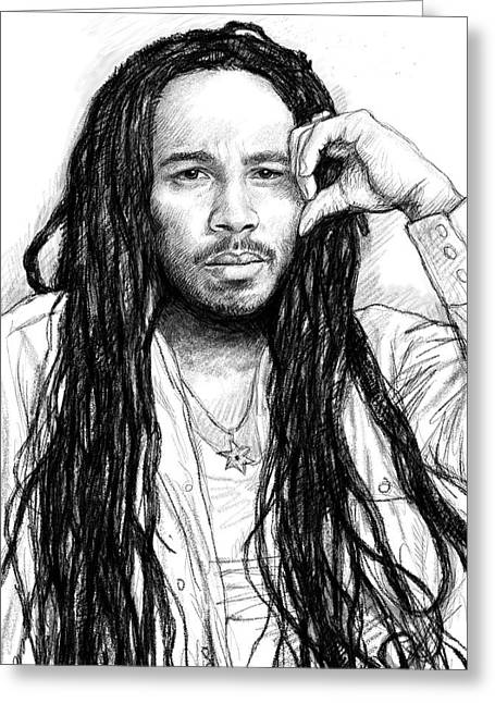 Playing Drawings Greeting Cards - Ziggy marley art drawing sketch portrait Greeting Card by Kim Wang