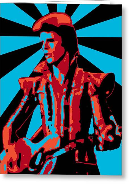 Ziggy Stardust Greeting Cards - Ziggy Played Guitar Greeting Card by Lance Vaughn