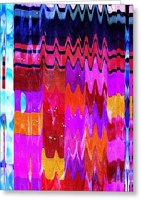 Shower Curtain Mixed Media Greeting Cards - Ziggy Quilt Greeting Card by Anne-Elizabeth Whiteway
