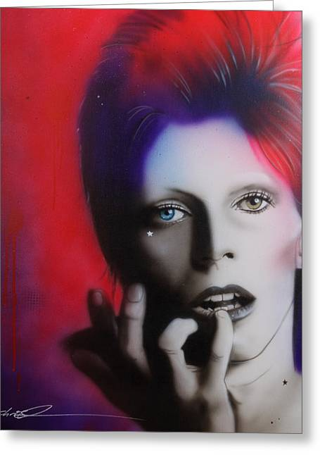 Celebrity Portrait Greeting Cards - Ziggy Stardust Greeting Card by Christian Chapman