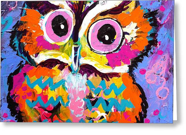 Chevron Owl Greeting Cards - Ziggy the Great Horned Owl Greeting Card by Kim Heil