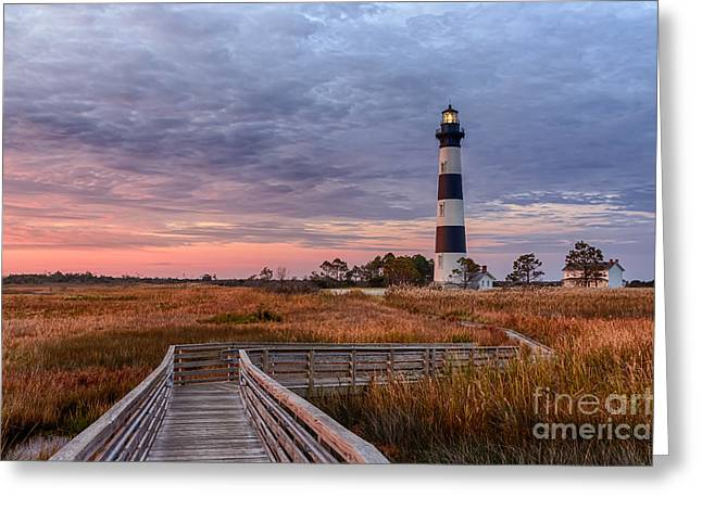 North Sea Pyrography Greeting Cards - Zigzag Walkway to Bodie Light Greeting Card by Dan Waters