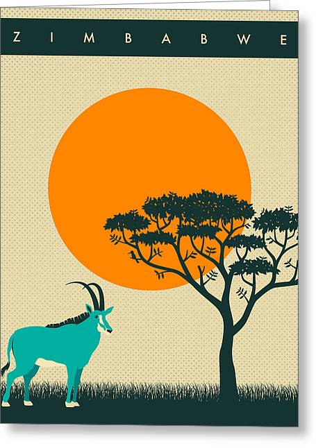 Sunset Posters Greeting Cards - Zimbabwe Travel Poster Greeting Card by Jazzberry Blue