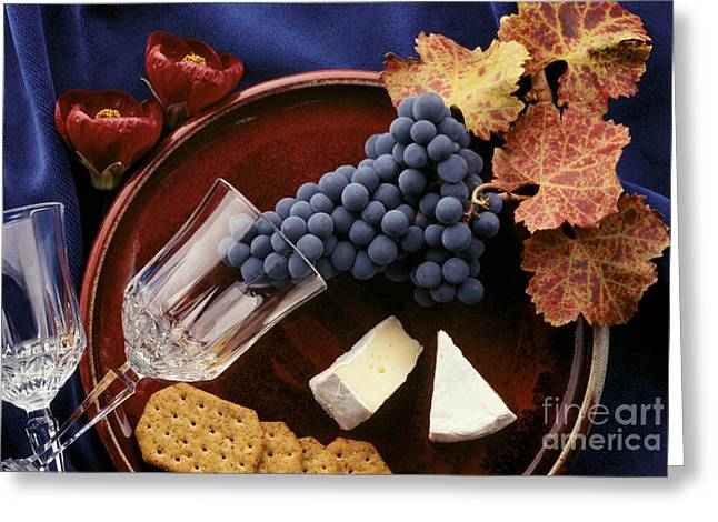 Blue Grapes Photographs Greeting Cards - Zinfandel Grapes Brie and Crackers Greeting Card by Craig Lovell