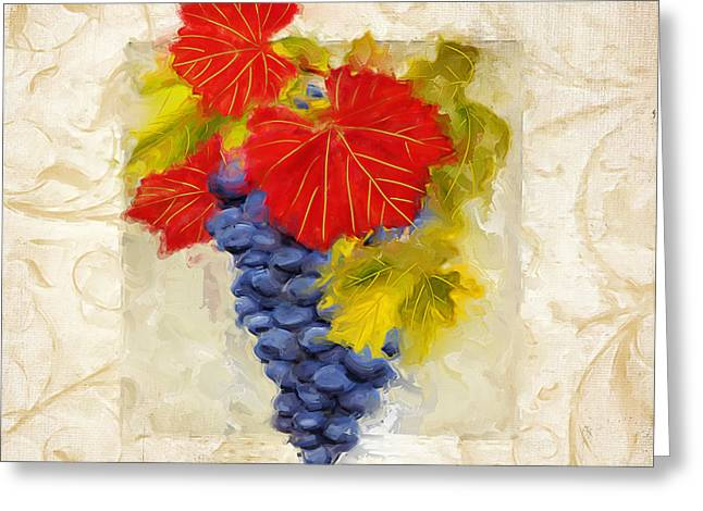 Bread And Wine Art Greeting Cards - Zinfandel II Greeting Card by Lourry Legarde