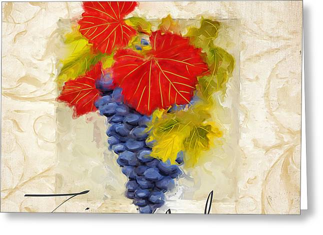 Purple Grapes Paintings Greeting Cards - Zinfandel Greeting Card by Lourry Legarde