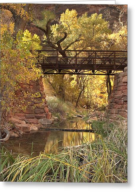 Backlit Greeting Cards - Zion Bridge Greeting Card by Adam Romanowicz
