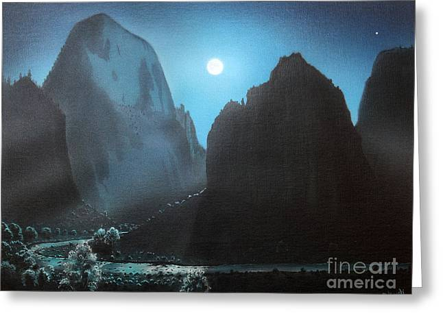 Night Angel Greeting Cards - Full Moon  ZION Greeting Card by Jerry Bokowski