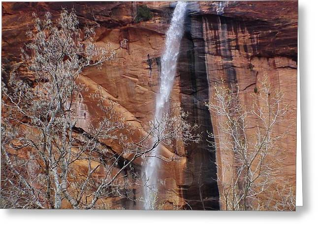 The Plateaus Greeting Cards - Zion Canyon Waterfall Greeting Card by Scott Cameron