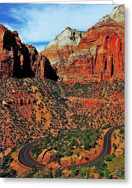 Mountain Road Greeting Cards - Zion Hairpin Greeting Card by Benjamin Yeager
