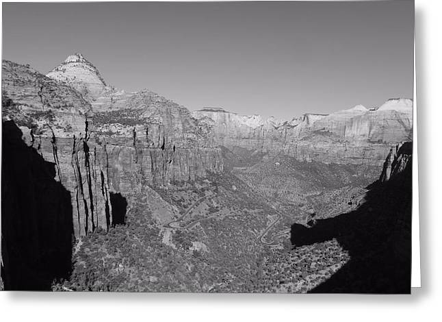 Moonrise Greeting Cards - Zion In Black And White Greeting Card by Dan Sproul