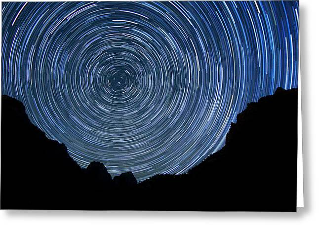 Stars Pyrography Greeting Cards - Zion Long Exposure Star Trail Image Greeting Card by Katrina Brown
