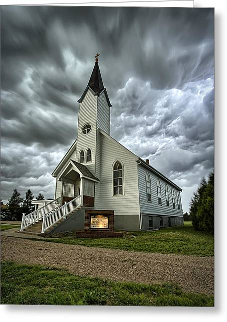 Stormy Clouds Greeting Cards - Zion Luthern Church Greeting Card by Thomas Zimmerman