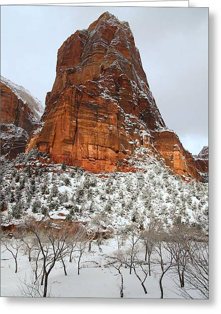 Monolith Greeting Cards - Zion monolith in snow Greeting Card by Jetson Nguyen