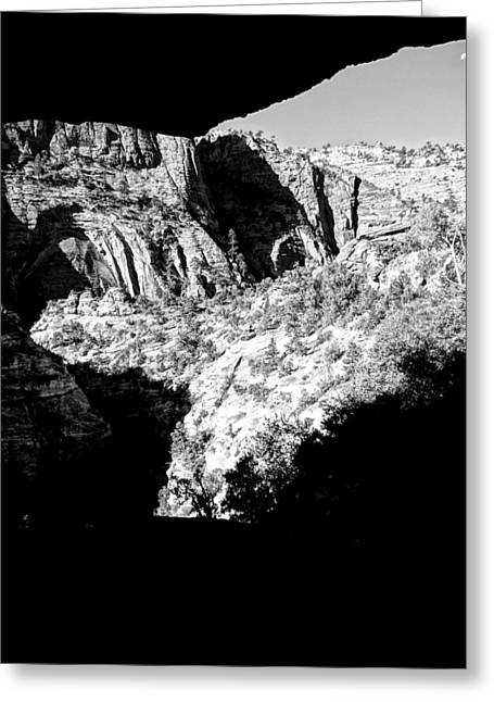 Moonrise Greeting Cards - Zion National Park In Black And White Greeting Card by Dan Sproul