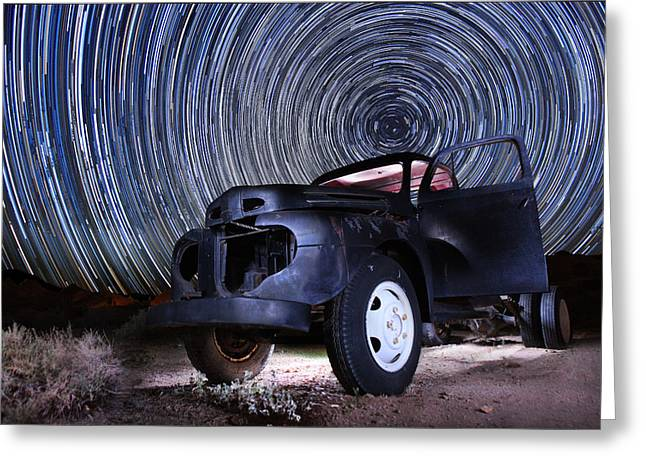 Stars Pyrography Greeting Cards - Zion National Park Long Exposure Star Trail Image Greeting Card by Katrina Brown