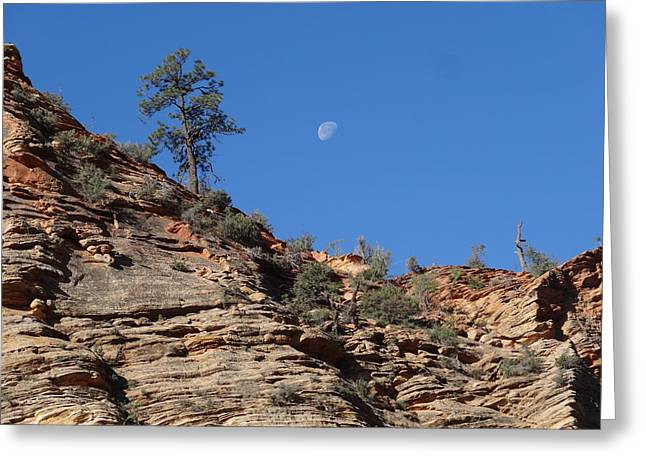 Moonrise Greeting Cards - Zion National Park Moonrise Greeting Card by Dan Sproul