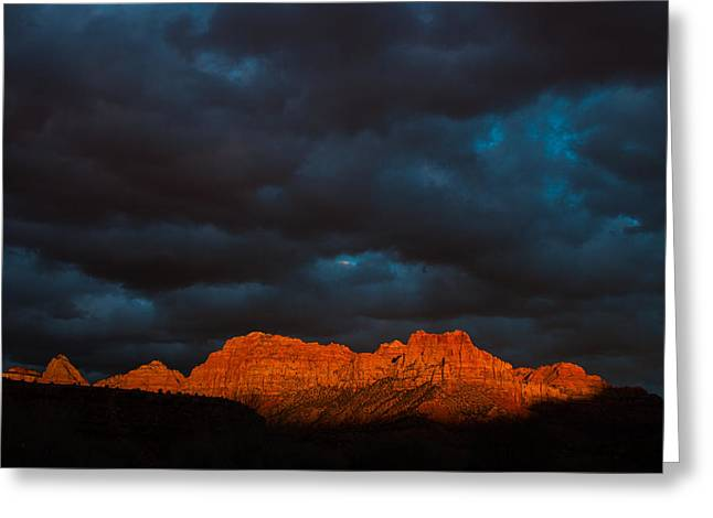 Geobob Greeting Cards - Zion National Park Sunset Rockville Utah and Storm Clouds over the Watchman Greeting Card by Robert Ford