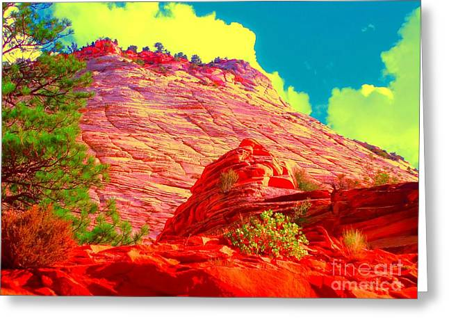 Navajo Basin Greeting Cards - Zion Rising Greeting Card by Ann Johndro-Collins