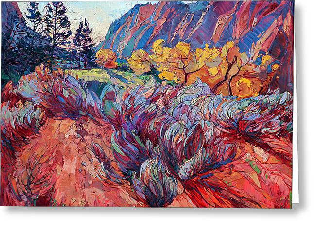 Rock Climbing Greeting Cards - Zion Sage Greeting Card by Erin Hanson