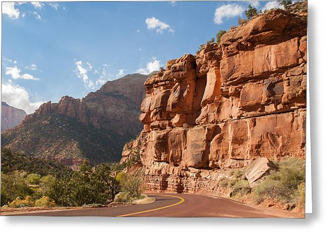 Mountain Road Greeting Cards - Zion Scenic Drive Greeting Card by John Bailey