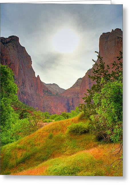 Zion Park Greeting Cards - Zion sunset Greeting Card by Alexey Stiop