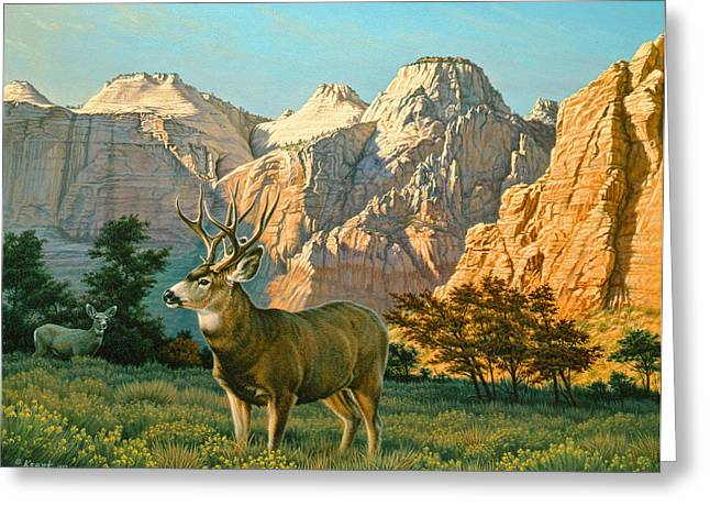 Zion Greeting Cards - ZionCountry Muleys Greeting Card by Paul Krapf