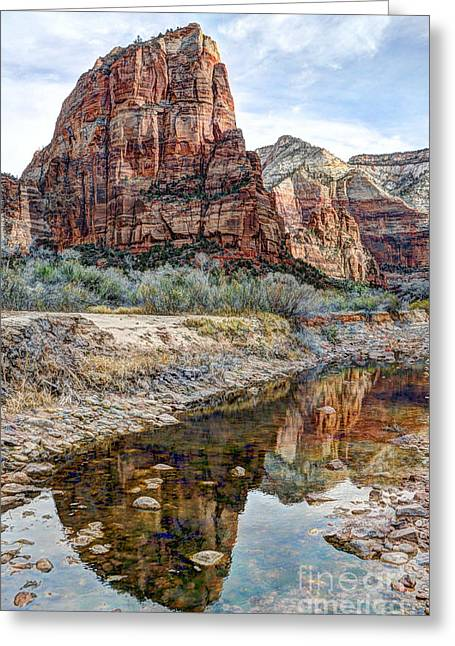 Recently Sold -  - Southern Utah Greeting Cards - Zions National Park Angels Landing - Digital Painting Greeting Card by Gary Whitton