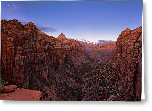 Zion's Twilight Greeting Card by Chad Dutson