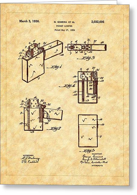 Barry Styles Greeting Cards - Zippo Lighter 1936 Patent Art Greeting Card by Barry Jones
