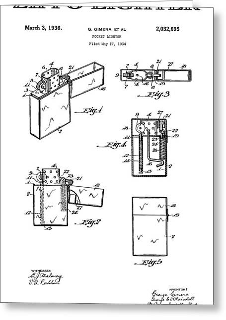 Historical Blueprint Greeting Cards - Zippo Lighter 3 Patent Art 1936 Greeting Card by Daniel Hagerman