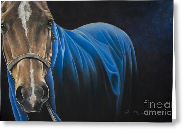 Horse Pastels Greeting Cards - Zippy Blue Blanket Greeting Card by Joni Beinborn