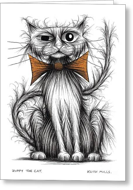 Posh Drawings Greeting Cards - Zippy the cat Greeting Card by Keith Mills