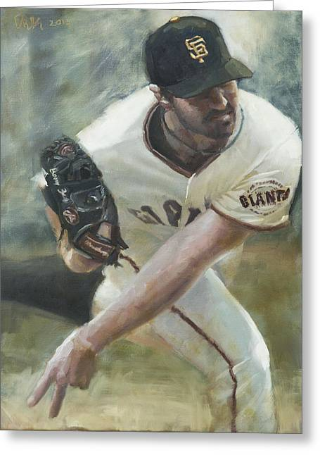 Baseball Art Greeting Cards - Zito Delivery Greeting Card by Darren Kerr