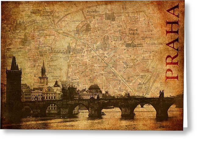 Charles Bridge Mixed Media Greeting Cards - Zlata Praha Greeting Card by Alla Albert