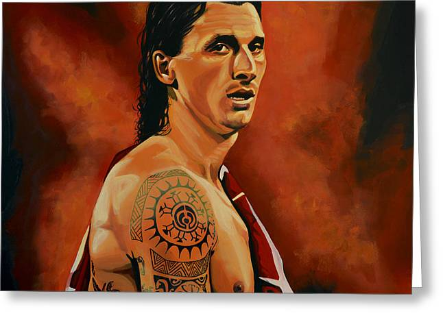 League Paintings Greeting Cards - Zlatan Ibrahimovic Greeting Card by Paul Meijering