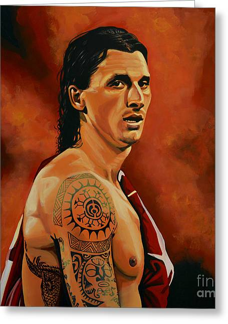 Zlatan Ibrahimovic Painting Greeting Card by Paul Meijering