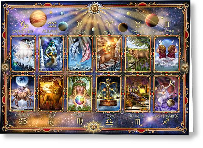 Astrological Greeting Cards - Zodiac 3 Greeting Card by Ciro Marchetti
