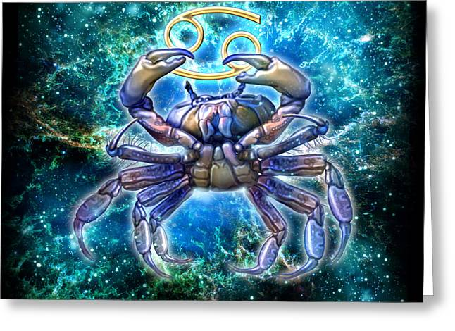 Cancer Paintings Greeting Cards - Zodiac Cancer Greeting Card by Ciro Marchetti
