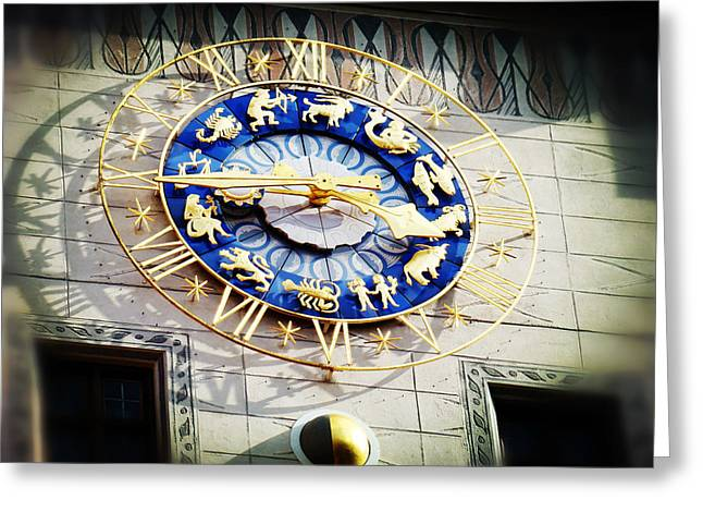 Deutschland Greeting Cards - Zodiac Clock in Munich Greeting Card by Zinvolle Art
