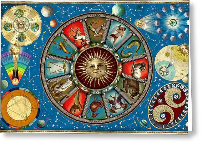 Aquarius Greeting Cards - Zodiac Colour Greeting Card by Garry Walton