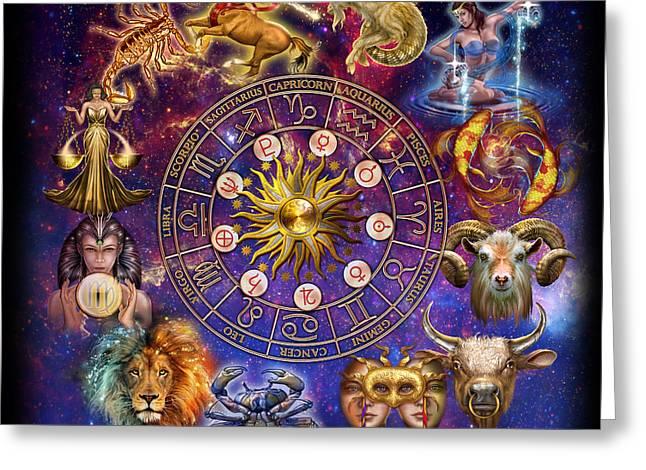 Zodiac Montage Greeting Card by Ciro Marchetti