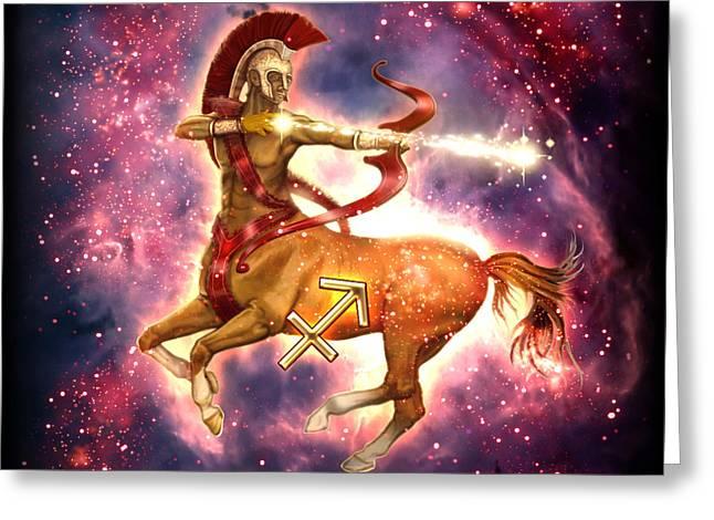 Zodiac Sagittarius Greeting Card by Ciro Marchetti