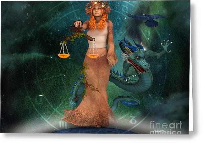 Dragon Lady Greeting Cards - Zodiac Sign Greeting Card by Jutta Maria Pusl