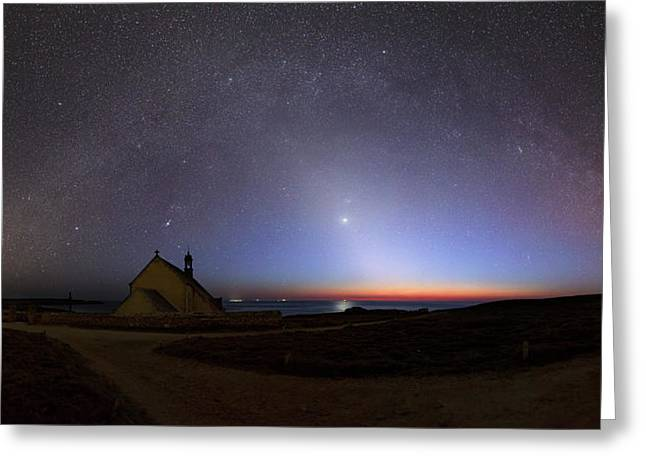Zodiacal Light Over Chapel Greeting Card by Laurent Laveder