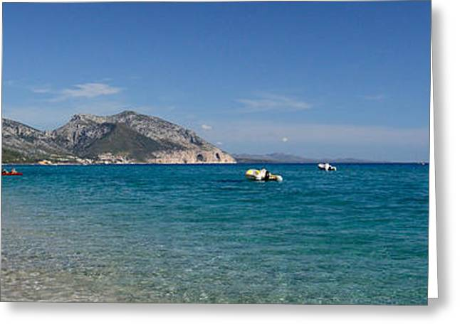 Sailboat Images Greeting Cards - Zodiacs And Sailboat In The Sea, Cala Greeting Card by Panoramic Images