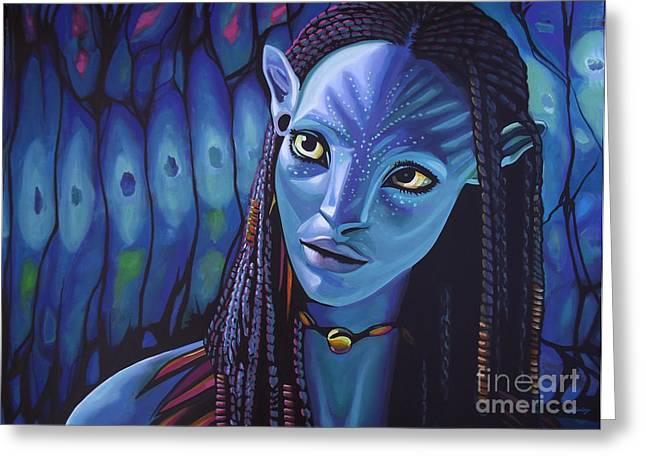 Realism Greeting Cards - Zoe Saldana in Avatar Greeting Card by Paul  Meijering