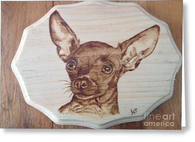 Dog Portraits Pyrography Greeting Cards - Zoe the Chihuahua Greeting Card by Loring Slivinski