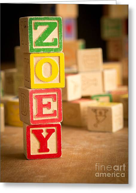 Wooden Alphabet Blocks Greeting Cards - ZOEY - Alphabet Blocks Greeting Card by Edward Fielding